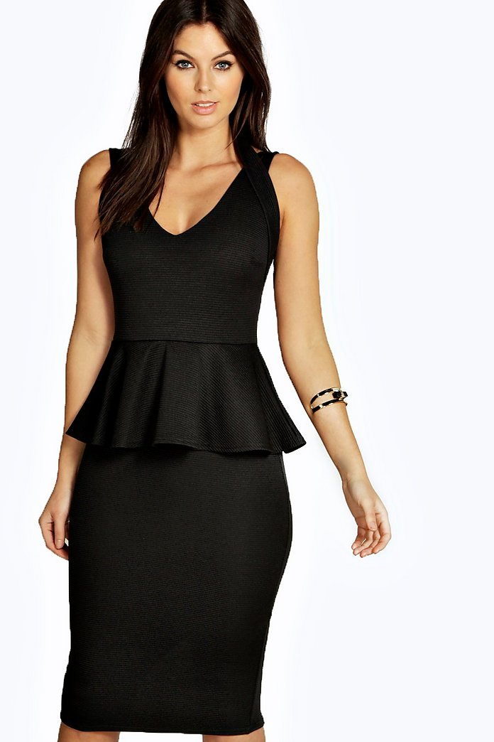 Petite Elle Strappy Ribbed Peplum Dress