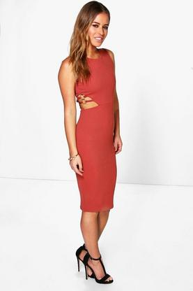 Petite Elle Cut Out Strappy Detail Midi Dress