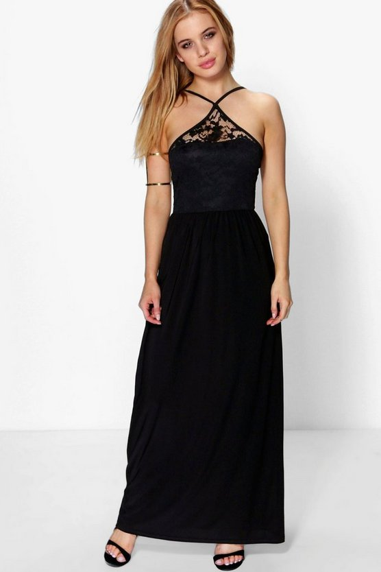 Petite Mia Lace Detail Strappy Maxi Dress