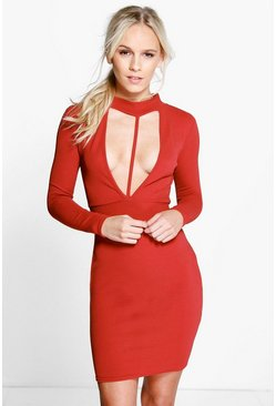 Petite Zoe Turtle Neck Plunge Crepe Bodycon Dress