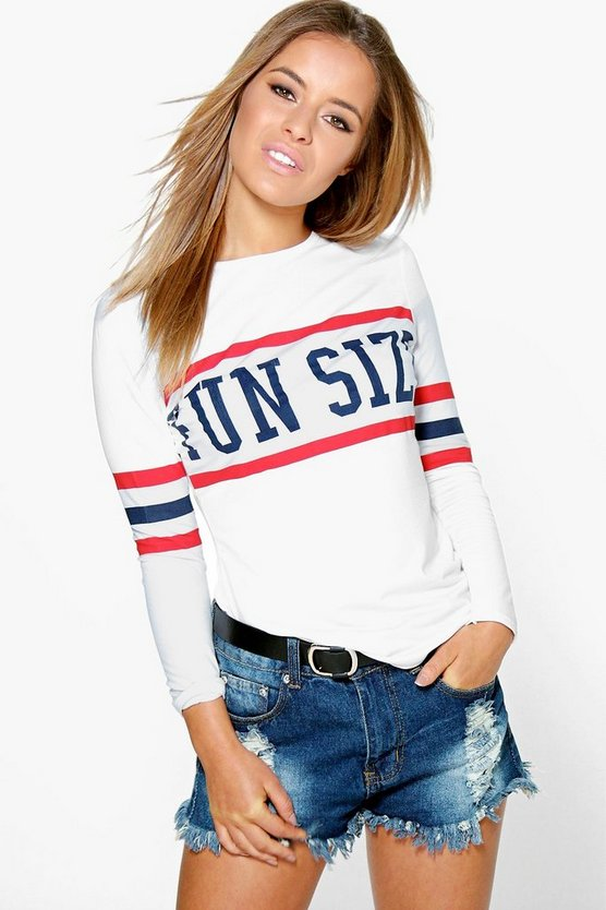 Petite Lydia 'Funsize' Long Sleeve Slogan Top