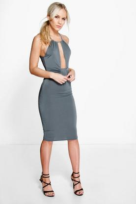 Petite Mel Keyhole Detail Plunge Bodycon Dress
