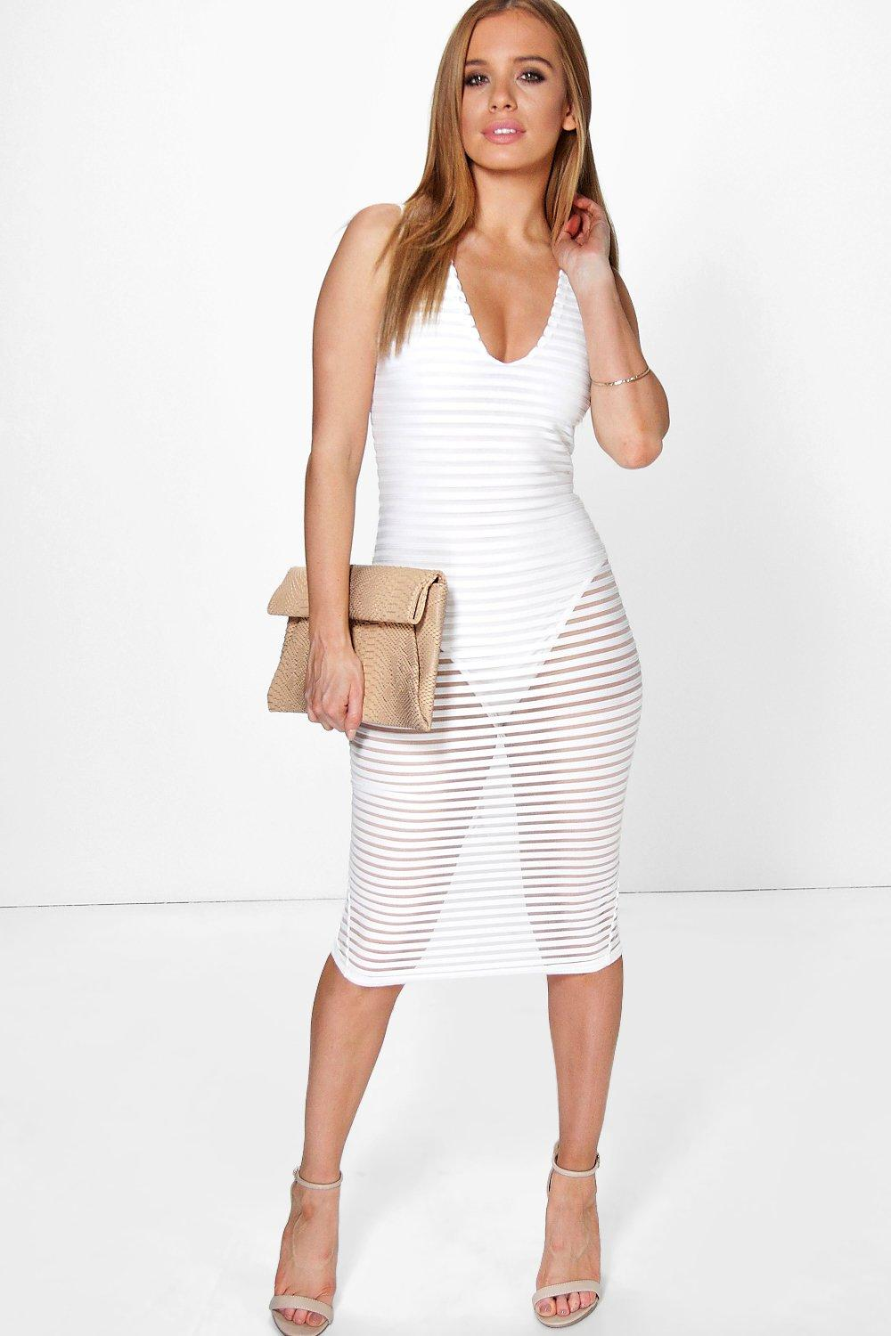 Petite Mia Stripe Bodysuit Insert Midi Dress