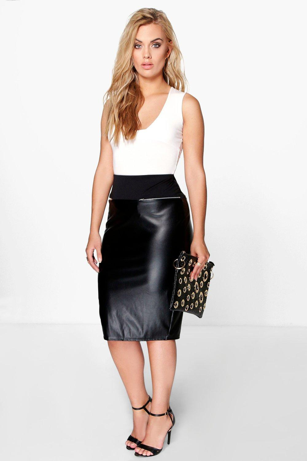 Plus Kate PU Panel Midi Skirt