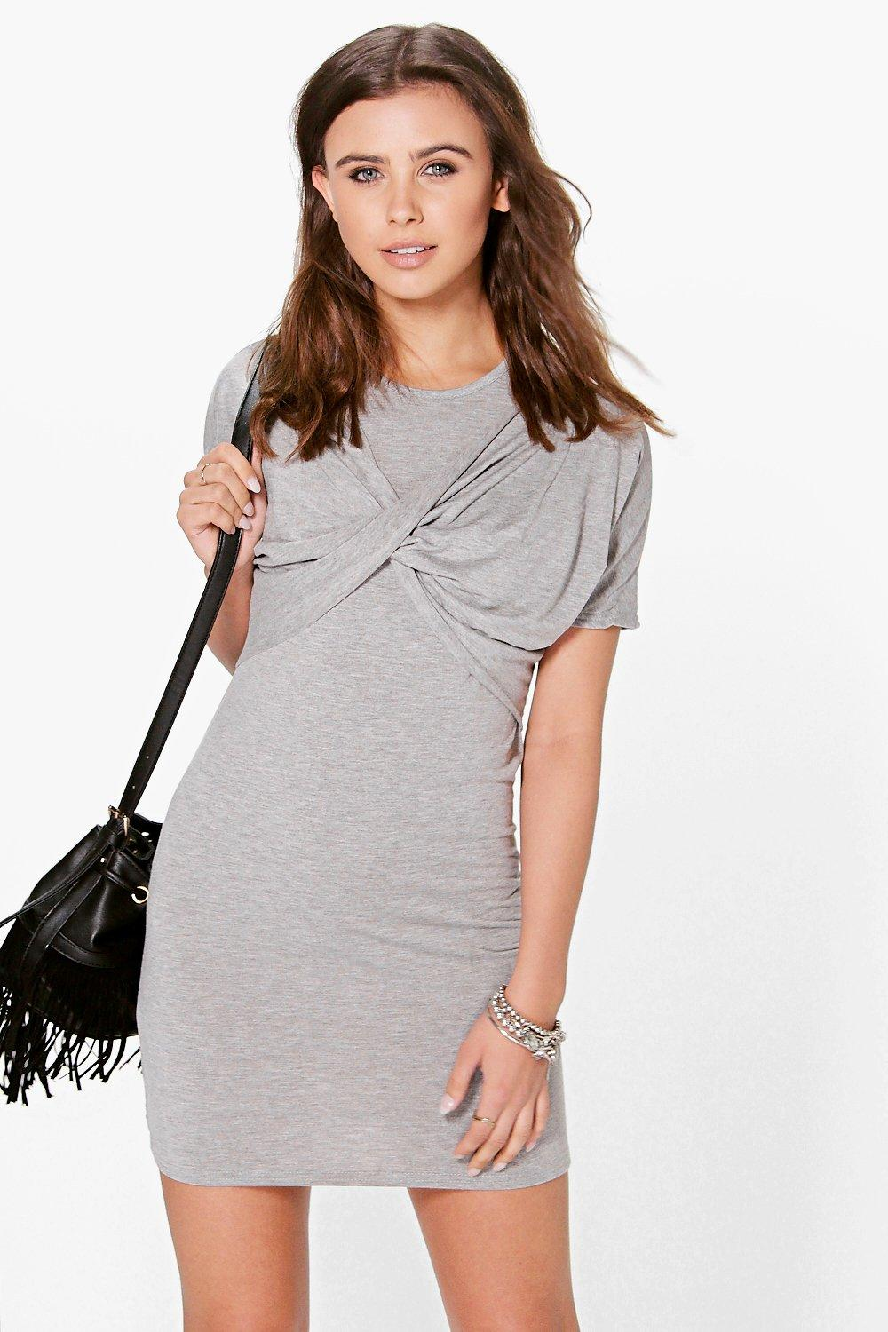 Petite Elle Twist Front T-Shirt Dress