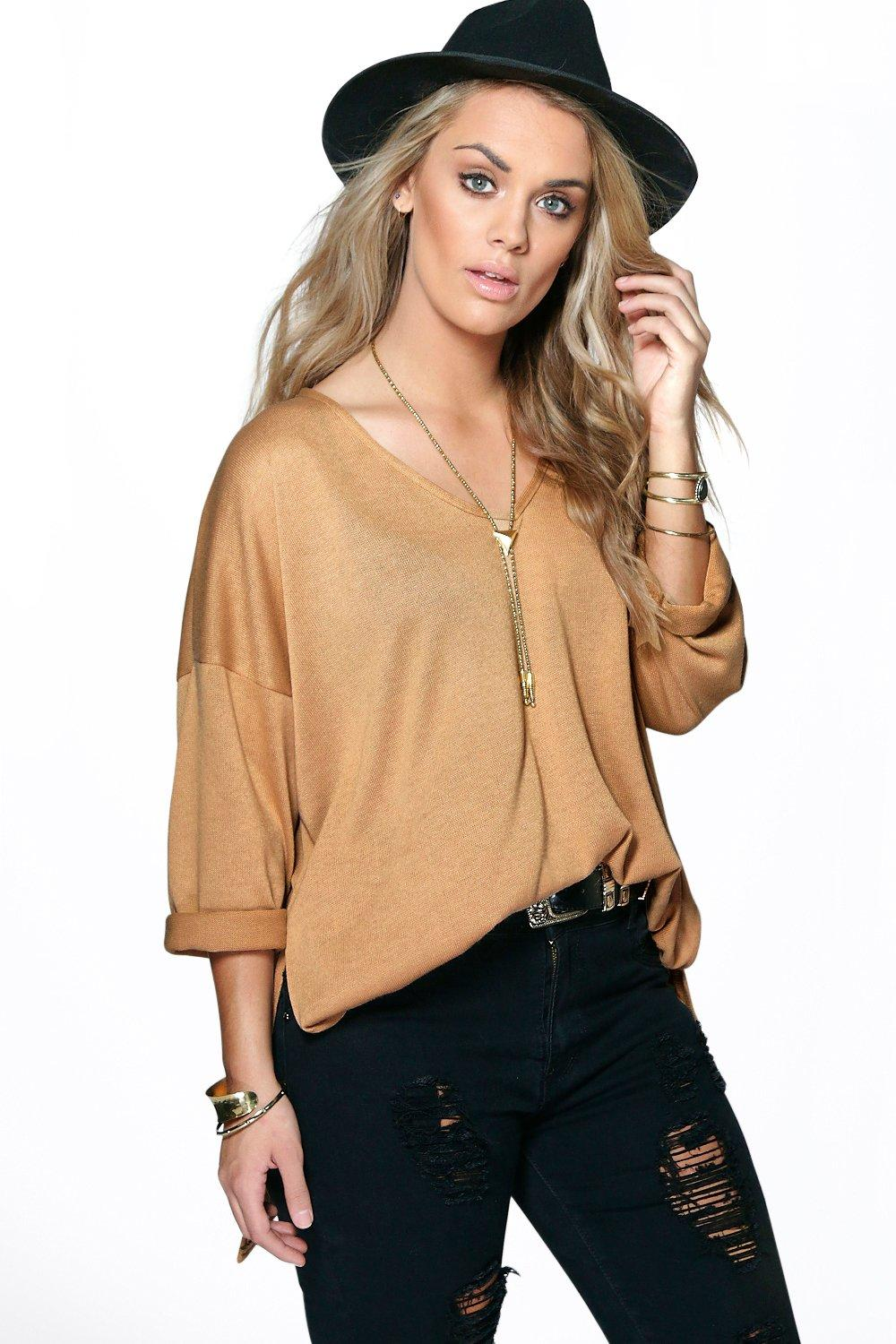 Plus Zoe V Neck Split Side Jumper