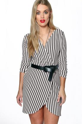 Plus Bella Striped Wrap Front Dress