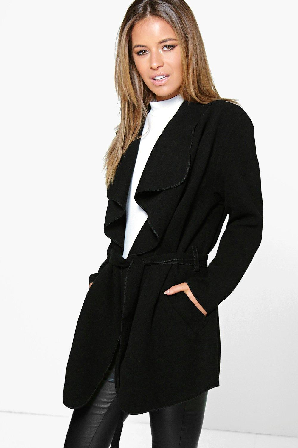 Petite Holly Waterfall Coat | Boohoo