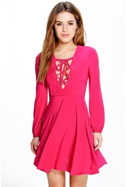 Petite Nina Lace Up Detail Skater Dress