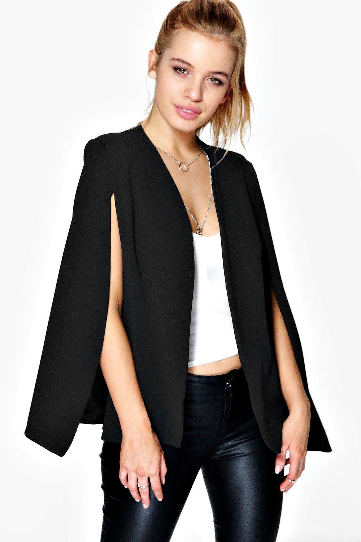 boohoo petite jenna blazer effet cape fendu devant pour femme ebay. Black Bedroom Furniture Sets. Home Design Ideas
