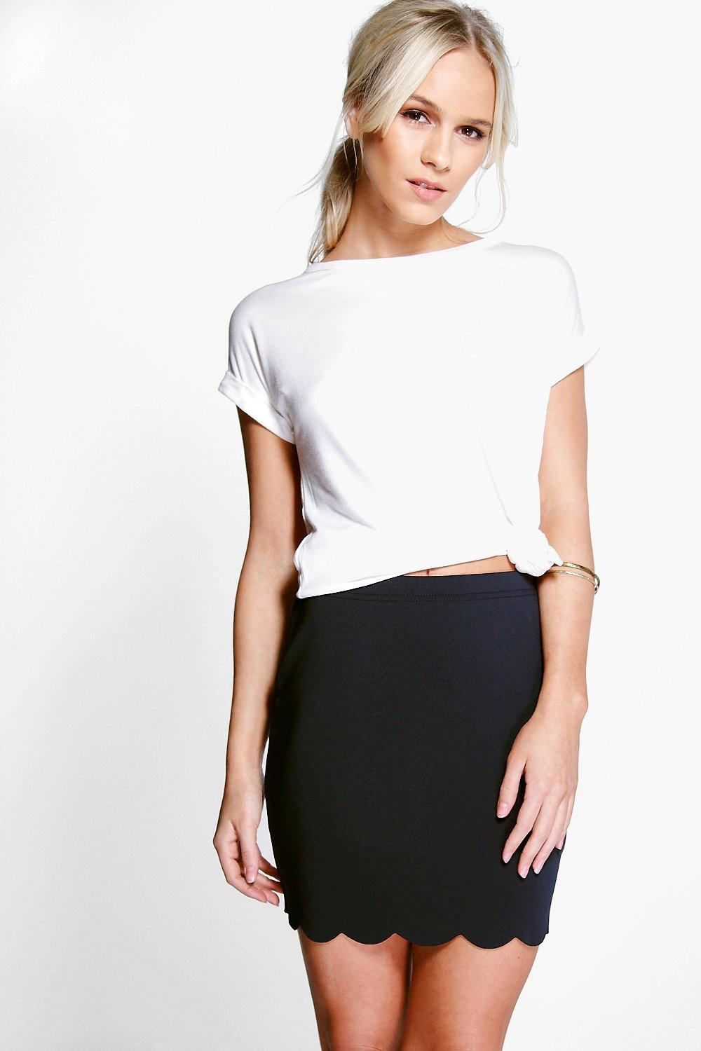 Jennifer Scallop Edge Mini Skirt navy