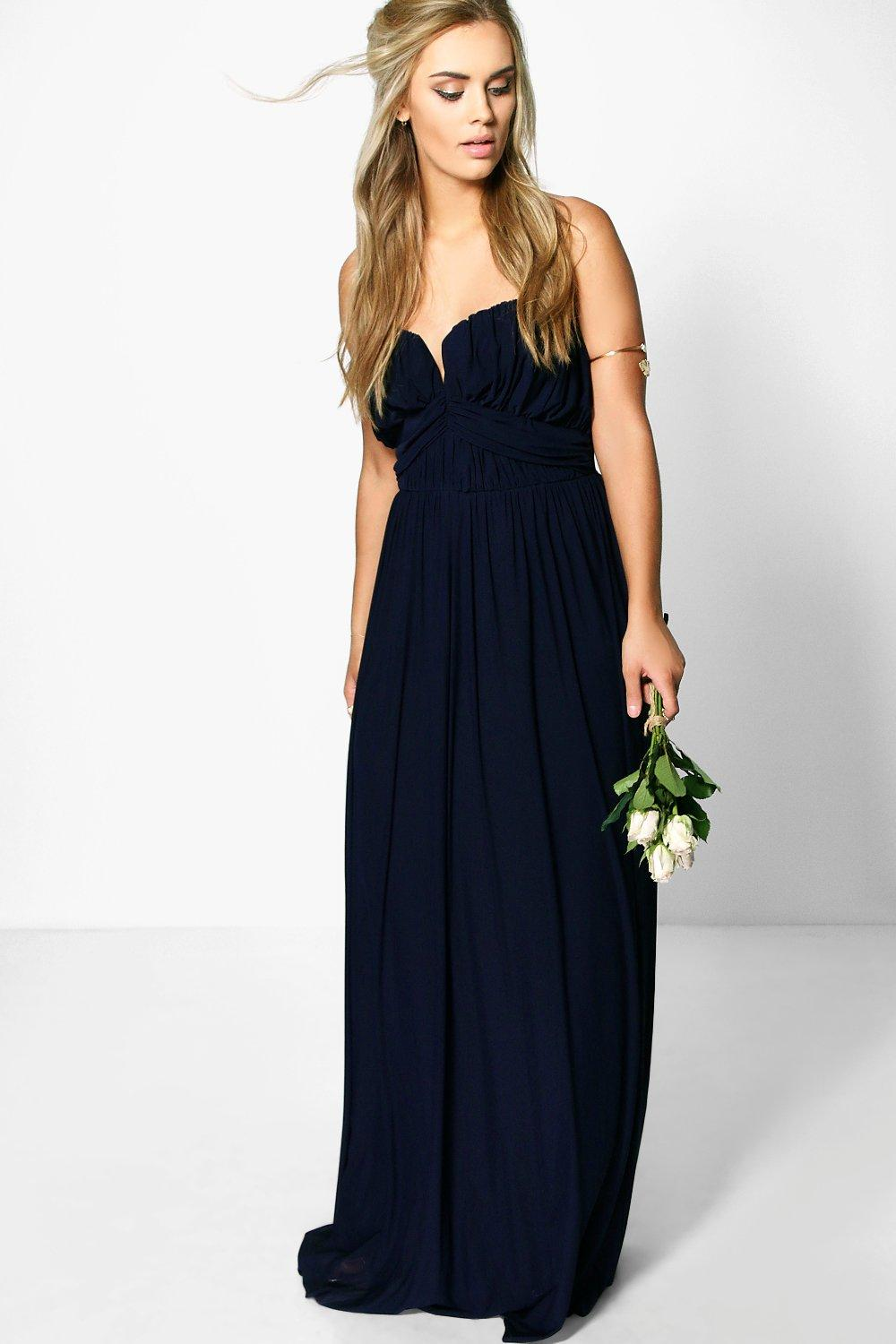 Plus Helen Mesh Plunge Bandeau Maxi Dress navy