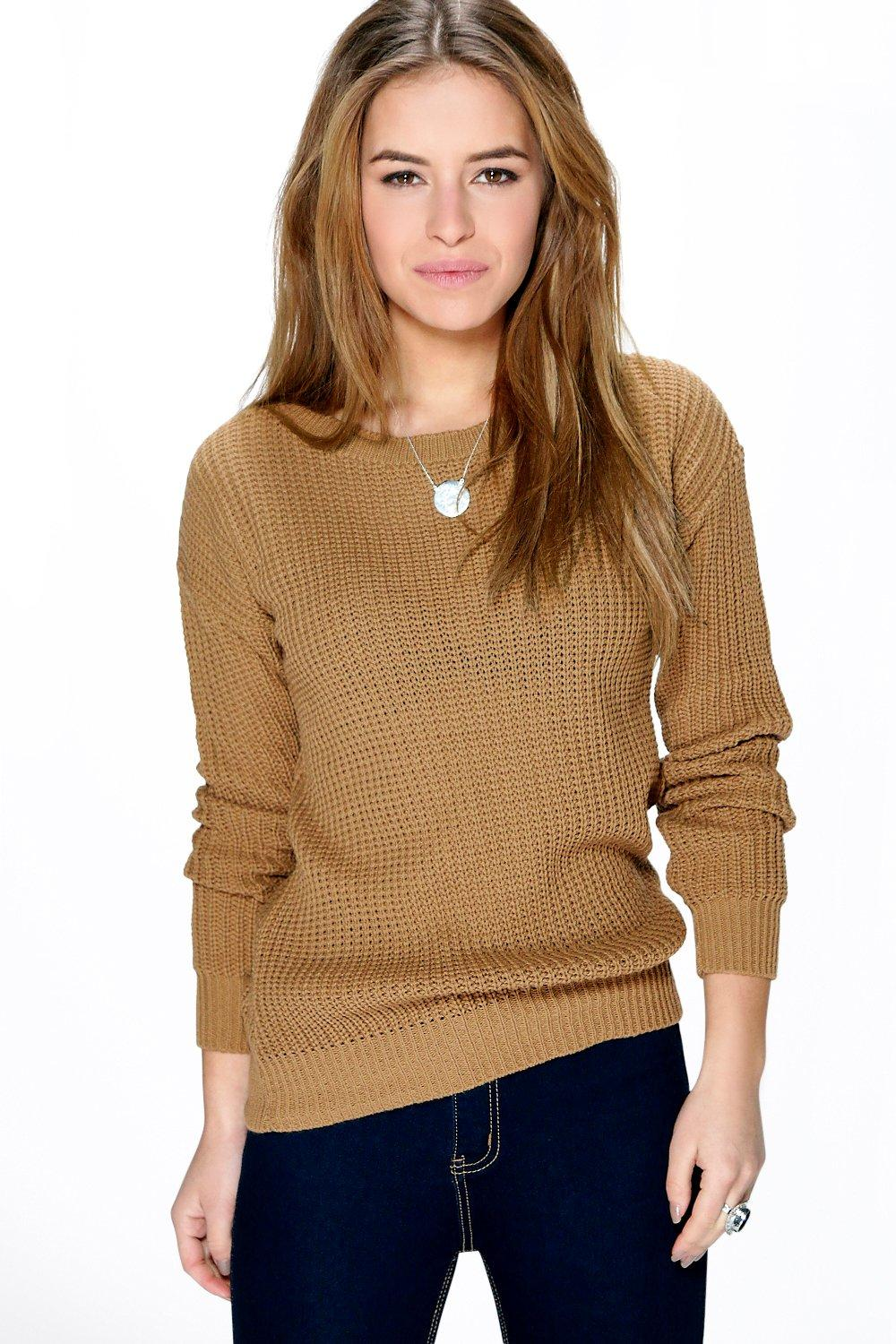 NEW-Boohoo-Womens-Petite-Ivy-Oversized-Jumper-in