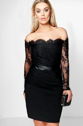 Plus Lucie Eyelash Lace Bodycon Dress