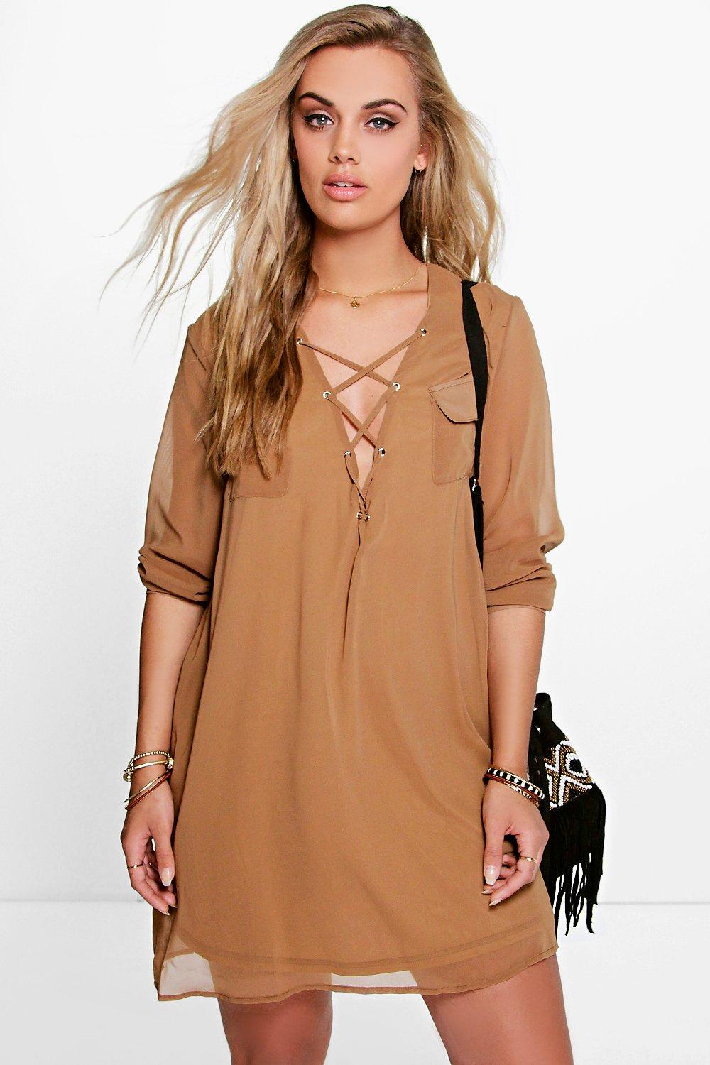 Plus Maya Lace Up Utility Dress