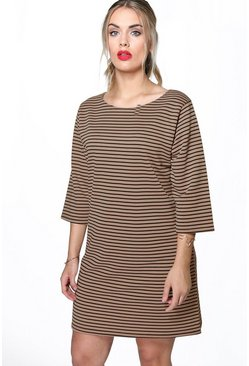 Plus Yazmin Striped 3/4 Sleeve Shift Dress