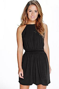 Petite Zoe Plait Detail Halter Neck Skater Dress