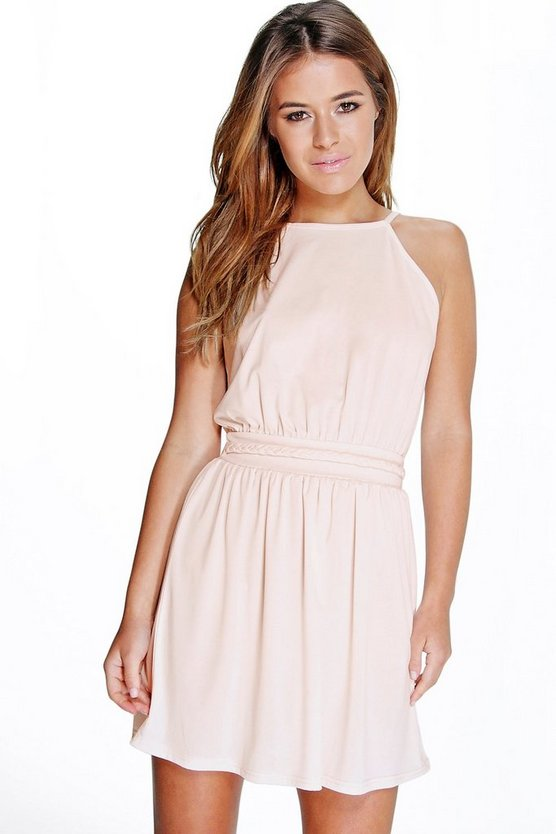 Petite Plait Detail Halter Neck Skater Dress