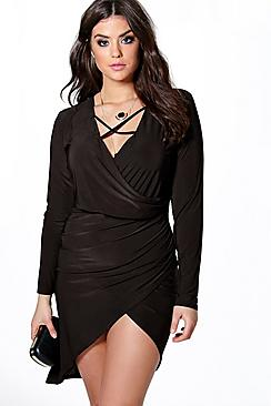 Plus Lydia Wrap Front Slinky Dress