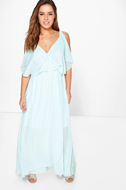 Product photo of Zoe chiffon double layer wrap maxi dress aqua