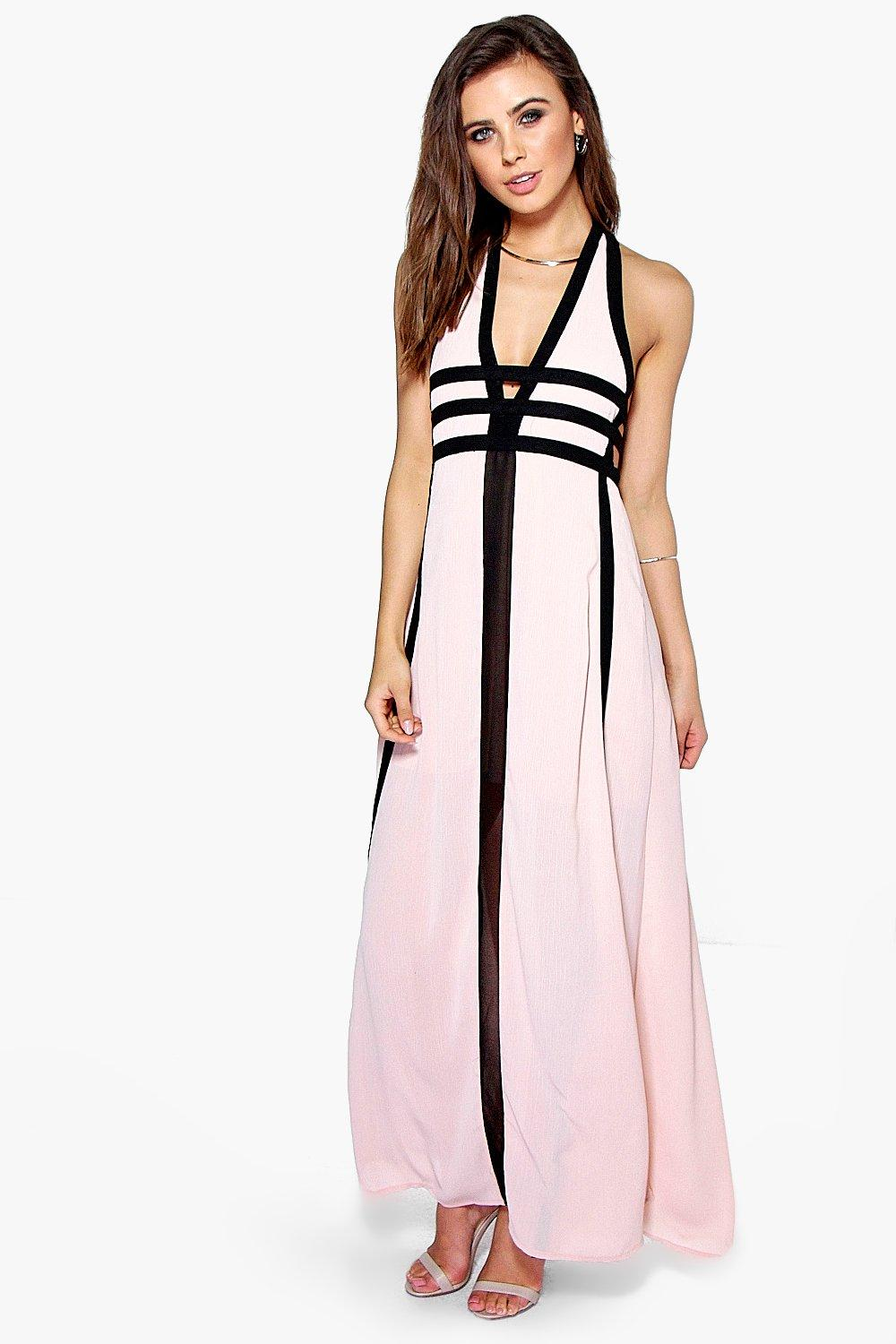 Product photo of Zoe contrast panel cut out detail maxi dress blush