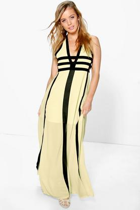 Petite Zoe Contrast Panel Cut Out Detail Maxi Dress