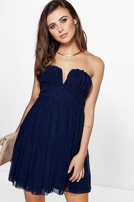 Petite Jane Mesh Ruched Plunge Skater Dress