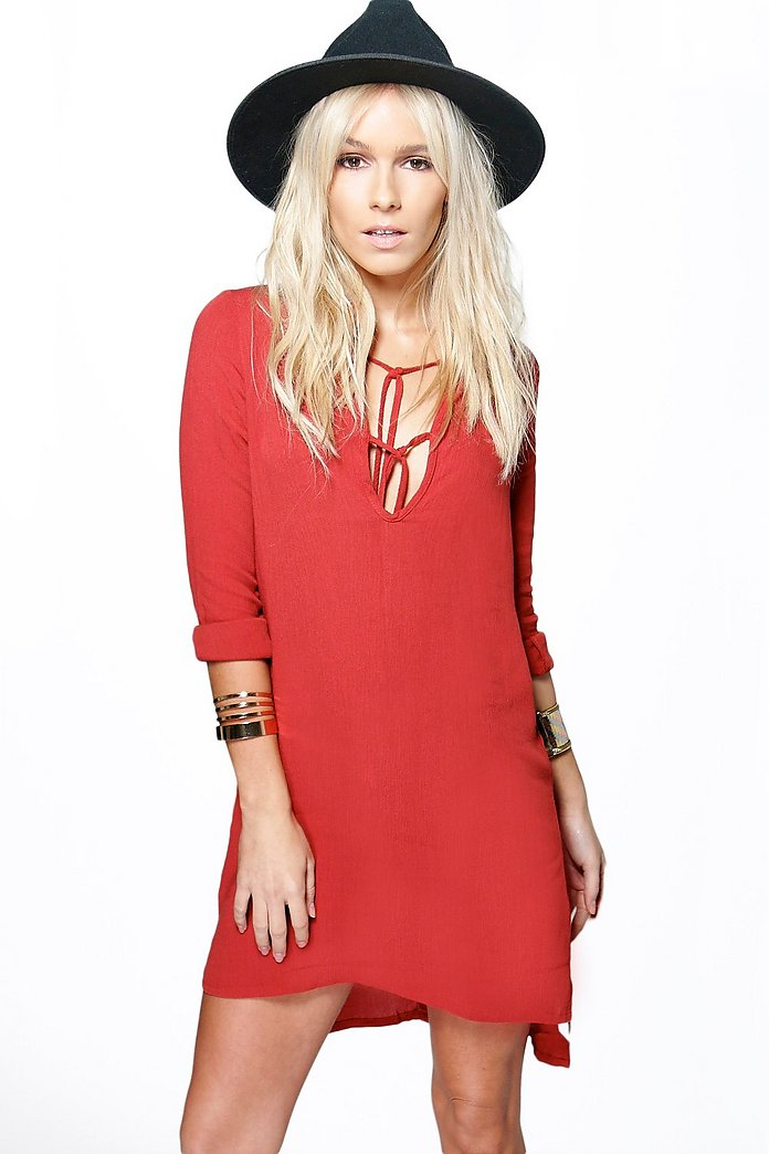 Petite Jane Lace up Detail Woven Smock Dress