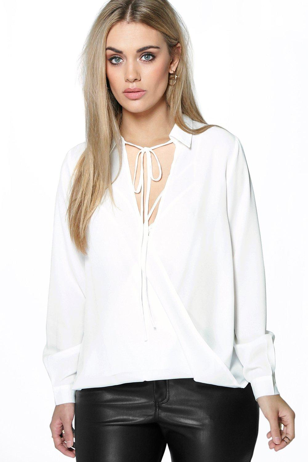 Plus Maria Tie Front Longsleeve Shirt