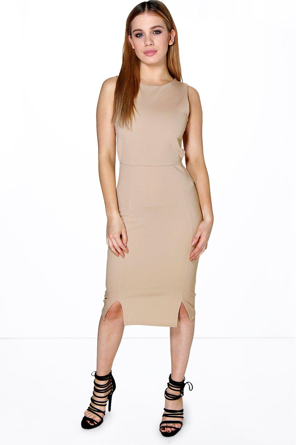 Petite Paula Split Hem Cut Out Back Bodycon