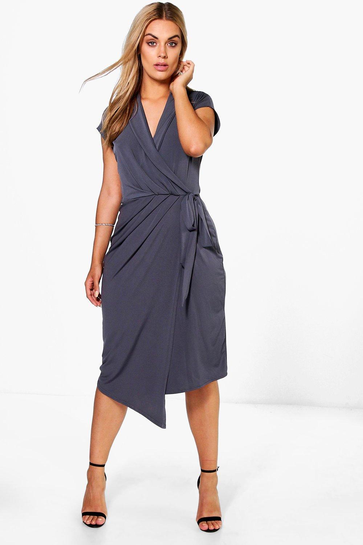 Boohoo Womens Plus Size Nicole Wrap Front Midi Dress | eBay