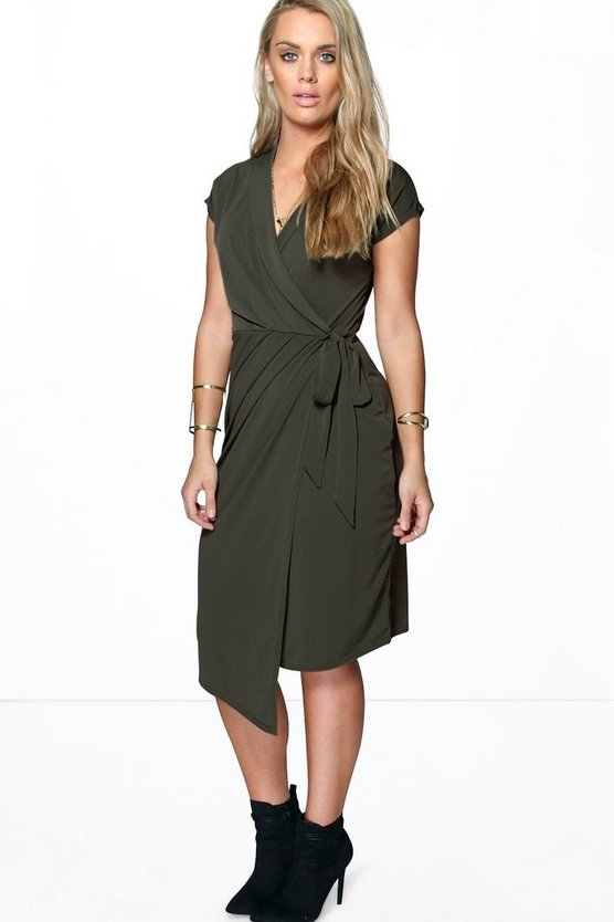 Plus Nicole Wrap Front Midi Dress