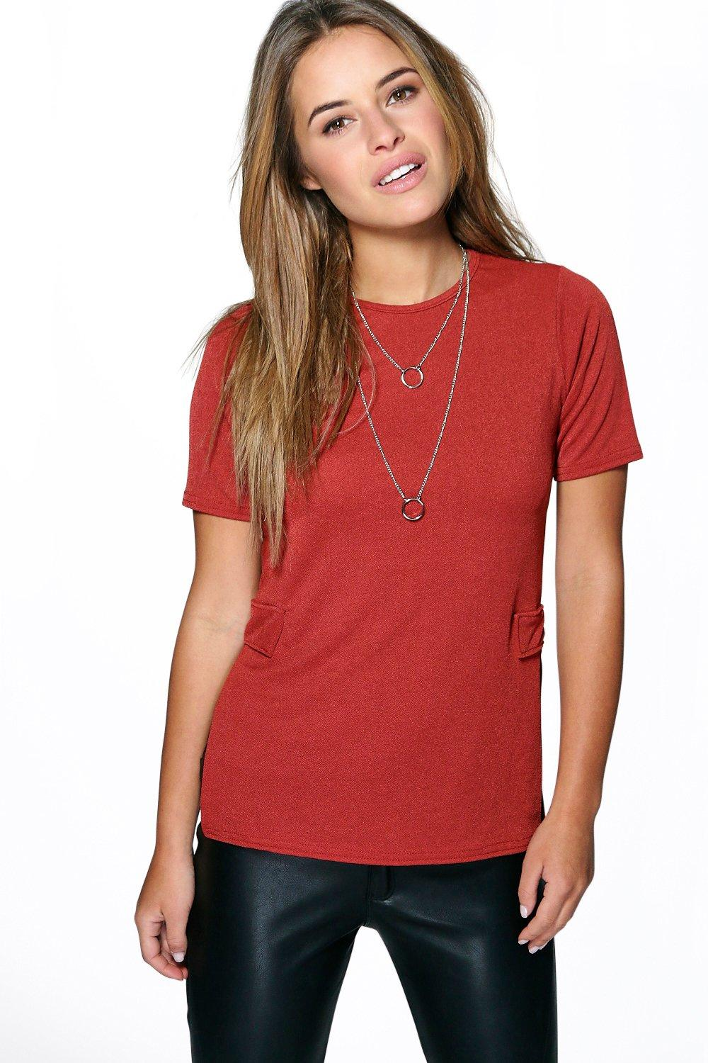 Petite Jenny Split Side Crepe Shell Top