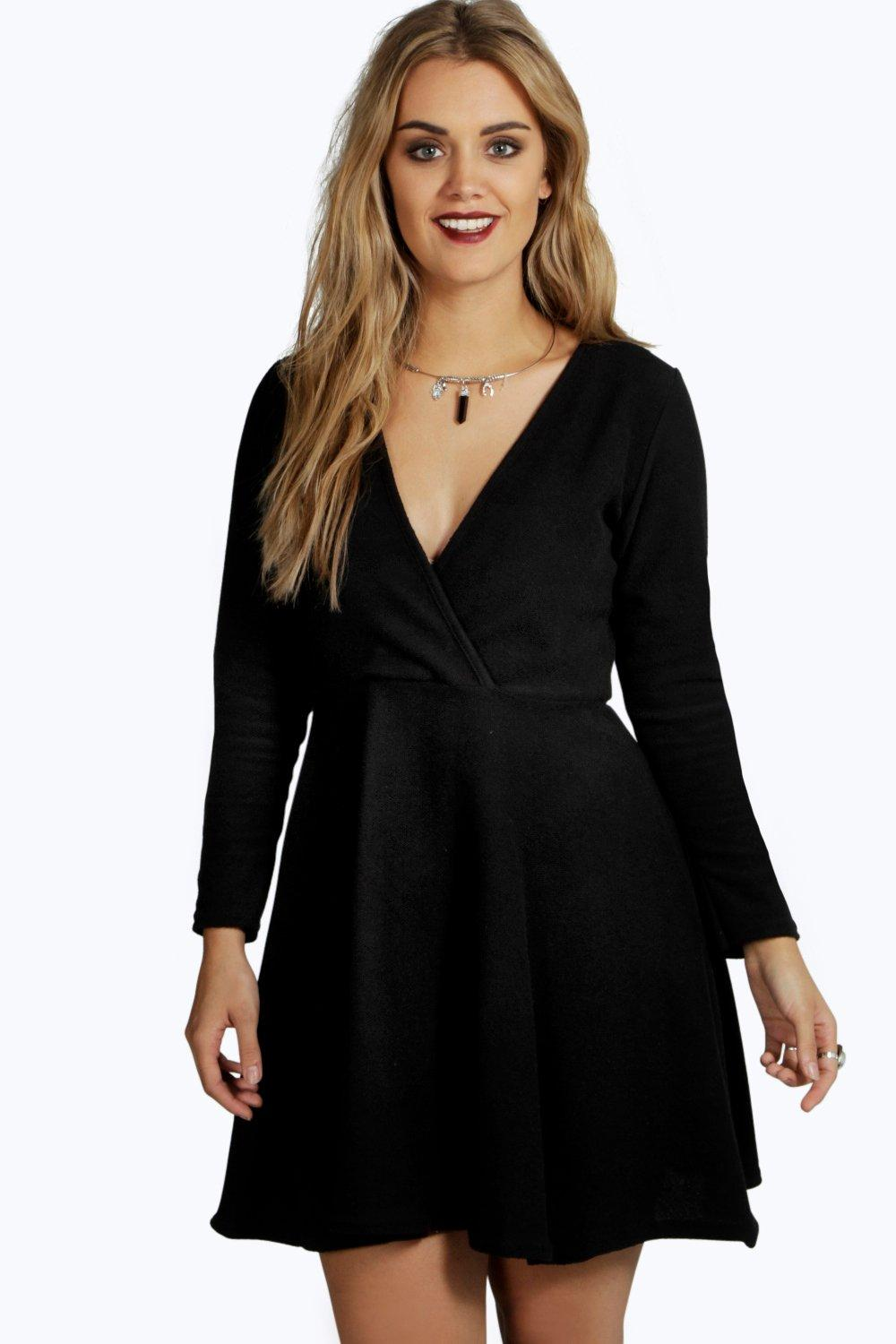 Kelly Knitted Wrap Front Skater Dress black