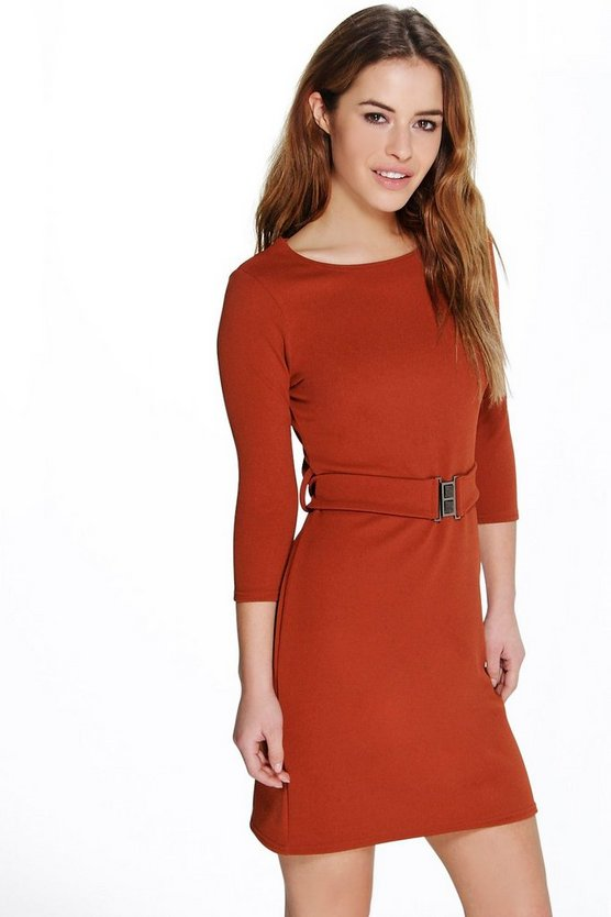 Petite Lucy Belted Crepe Shift Dress