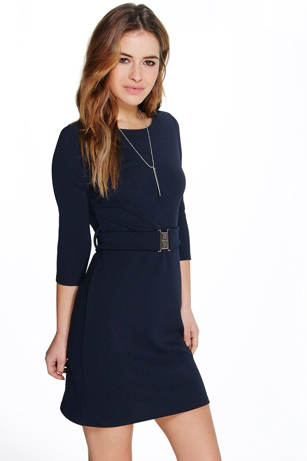 Boohoo Womens Petite Lucy Belted Crepe Shift Dress