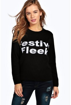 Petite Lara Festive Fleek Slogan Christmas Jumper