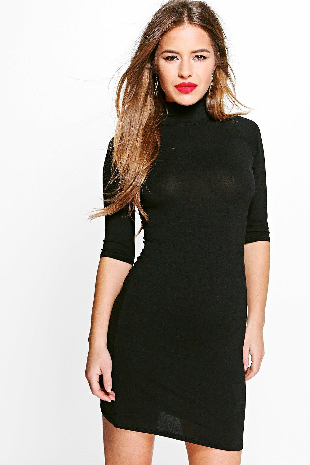 Petite Dianne Turtle Neck 3/4 Sleeve Bodycon