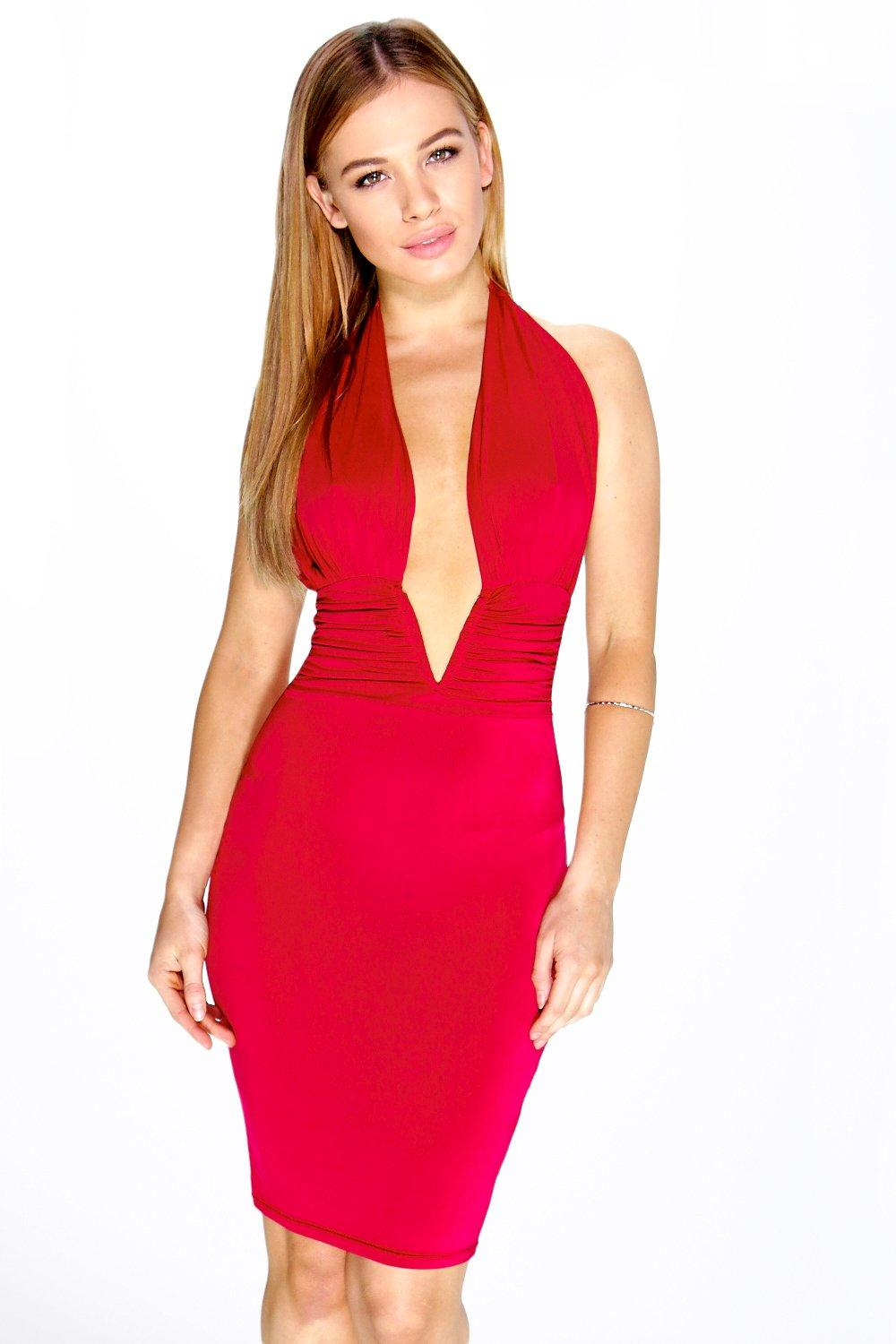 Petite Amy Extreme Plunge Halter Neck Dress