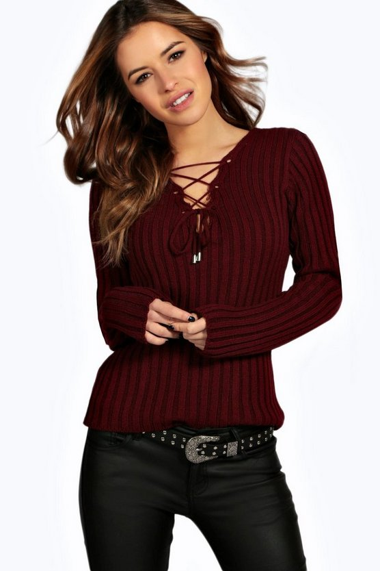 Petite Willow Lace Up Rib Knit Jumper
