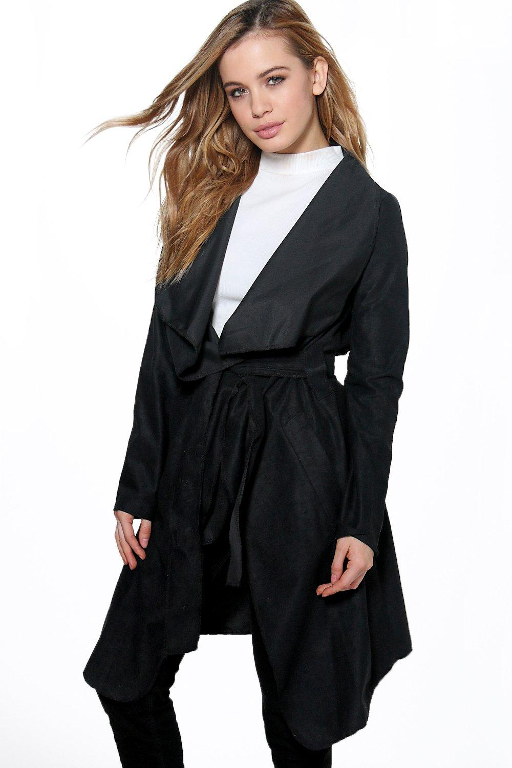 Petite Roma Suedette Waterfall Coat