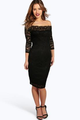 Petite Alexis Lace Bardot Midi Dress