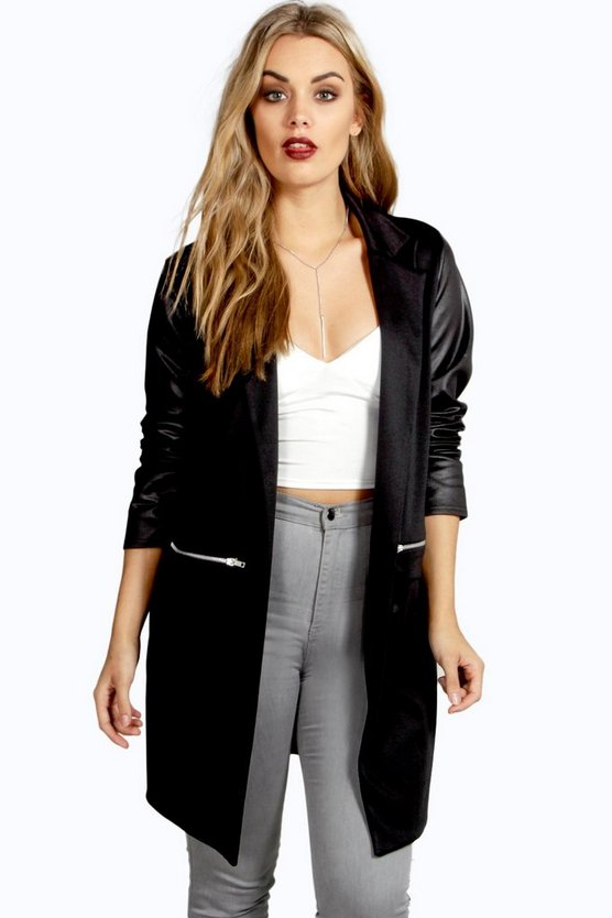 Plus PU Sleeve Jersey Duster Jacket