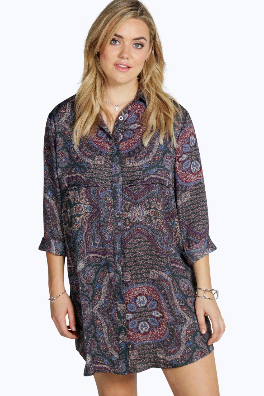boohoo womens plus lilly paisley print shirt dress ebay