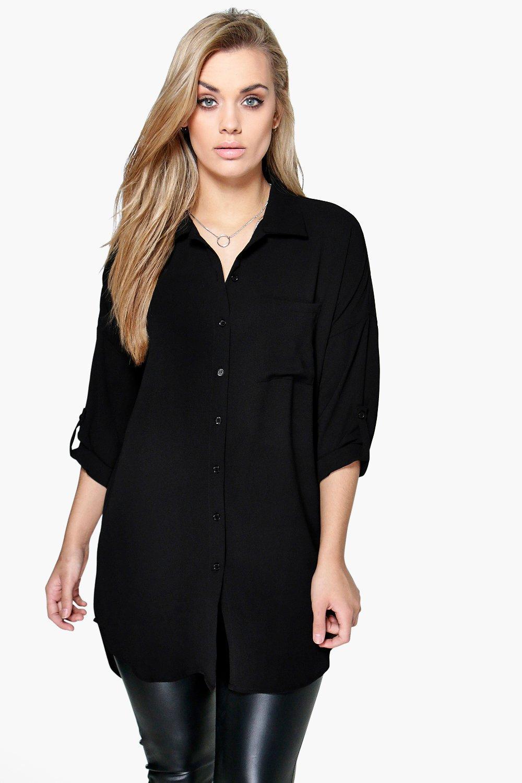 Womens Plus Übergroßes Hemd - Schwarz - 50, Schwarz - Boohoo.com