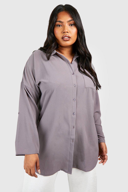 Womens Plus Übergroßes Hemd - Grau - 50, Grau - Boohoo.com