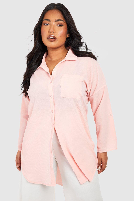 Womens Plus Übergroßes Hemd - Hautfarben - 44, Hautfarben - Boohoo.com