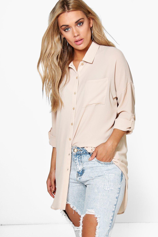 Womens Plus Übergroßes Hemd - Steingrau - 50, Steingrau - Boohoo.com