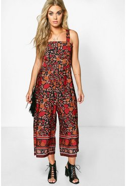 Plus Lily Floral Cut Out Culotte Jumpsuit