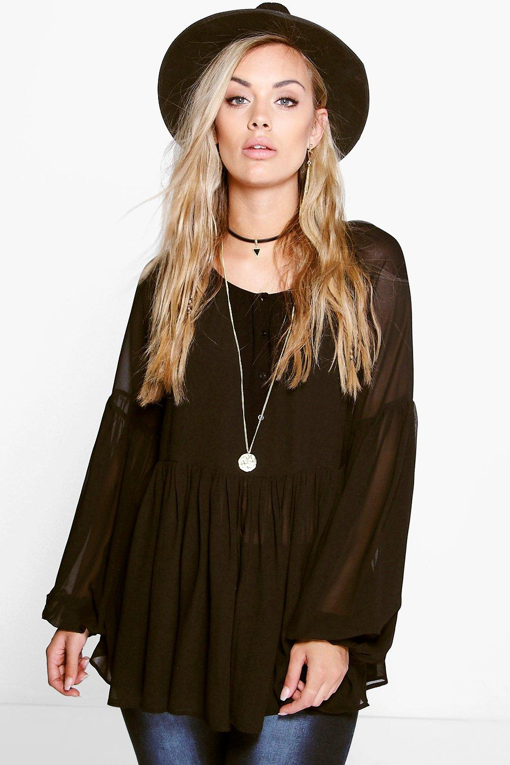 Plus Lucy Woven Wide Sleeve Smock Top